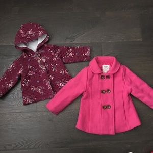 Two Baby Girl Winter Coats + Hat - 12-18m